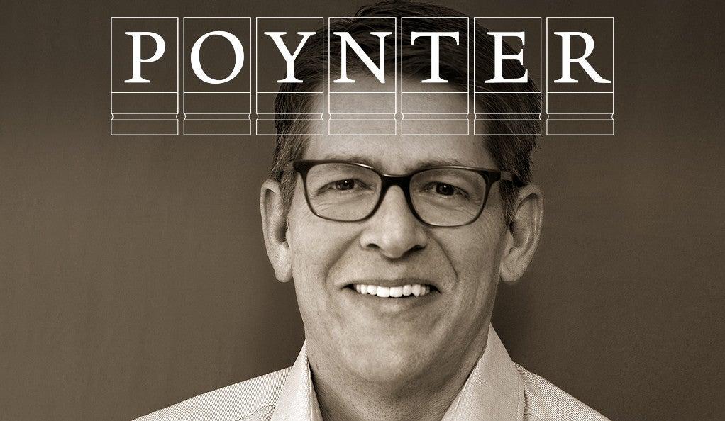 Jay Carney with Poynter Fellowship logo