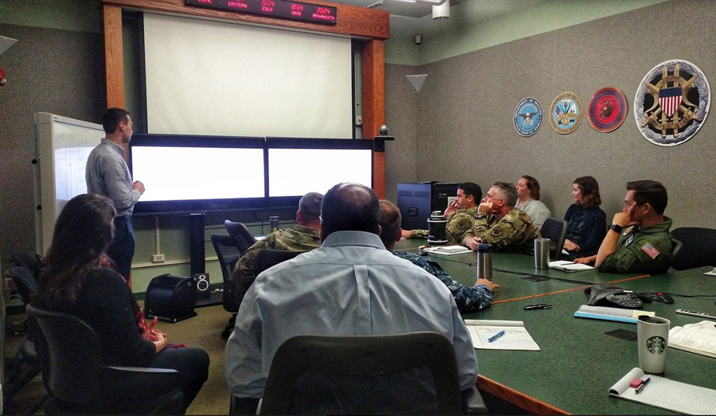 A Yale team presents a new predictive analysis tool to military representatives at Fort Leavenworth, Kansas.