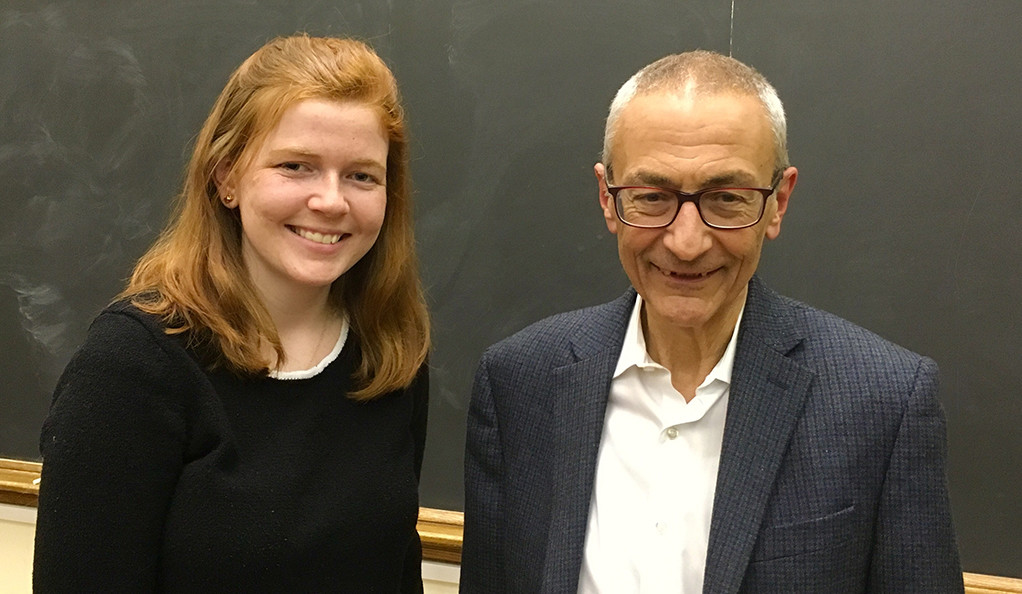 Yale student Sarah Donilon with John Podesta