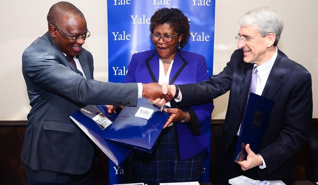 Dr. Sam Kasiki, Dr. Felister Makini, and Peter Salovey.