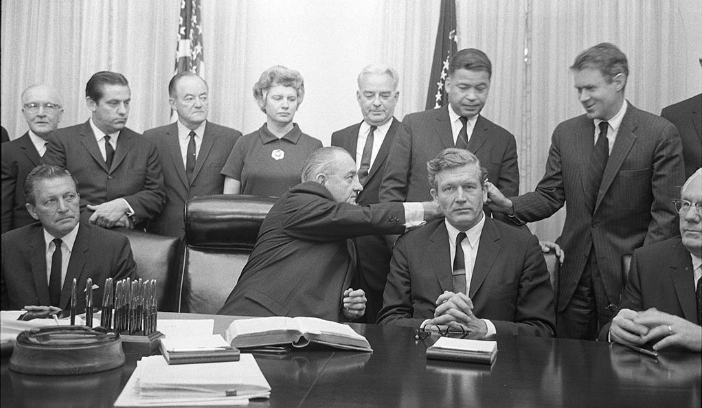 President Johnson with some members of the Kerner Commission in the Cabinet Room of the White House.