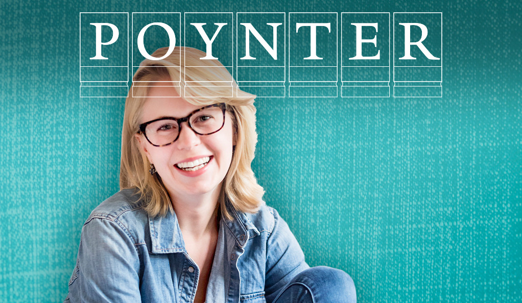 Caroline Kitchener with the Poynter Fellowship logo.