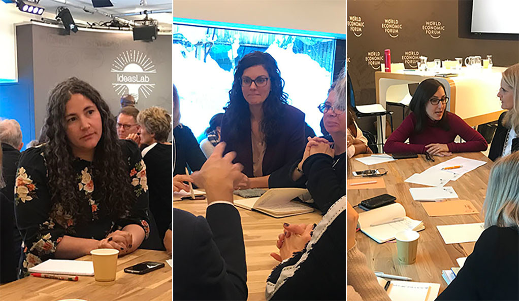 Professors Laurie Santos, Molly Crockett, and Hedy Kober talk with participants at the World Economic Forum in Davos.