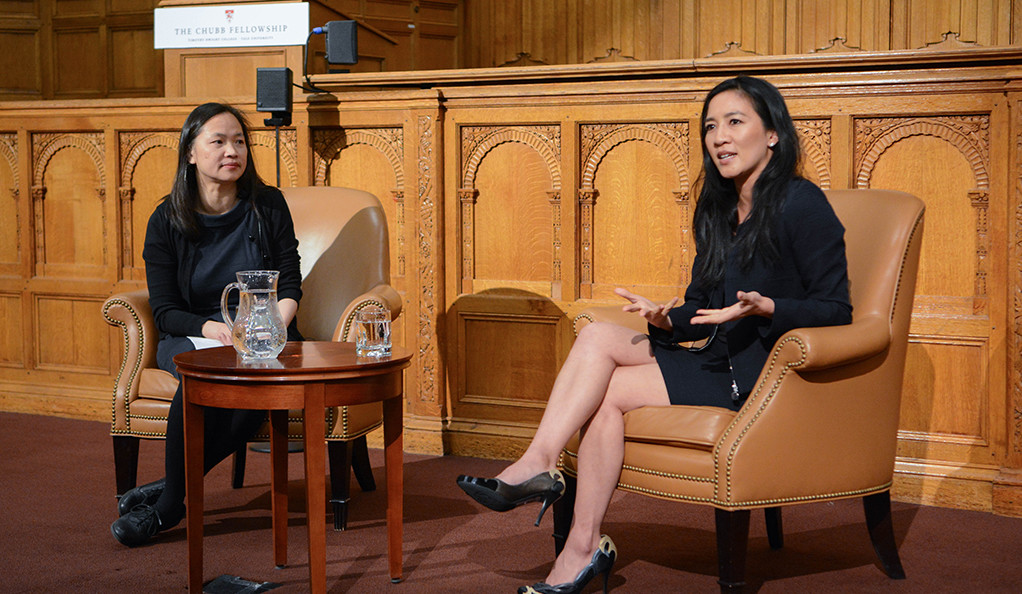 Chubb Fellow Michelle Kwan (right) on stage with Yale Professor Mary Lui.