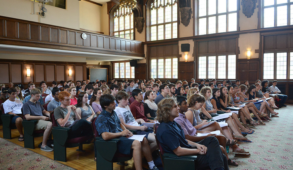 Yale students attending a lecture at the Whitney Humanities Center.