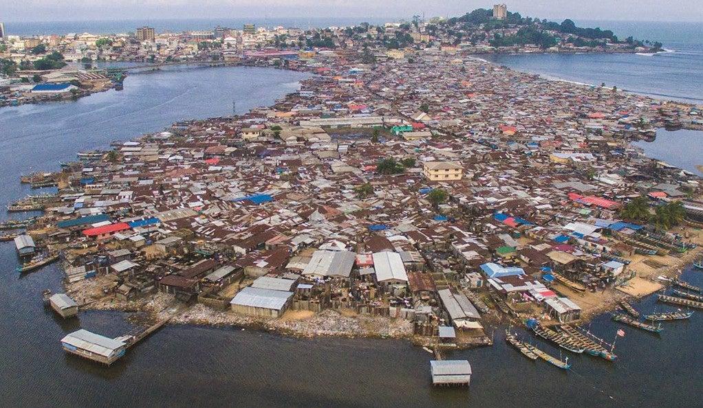 The Liberian coastline.