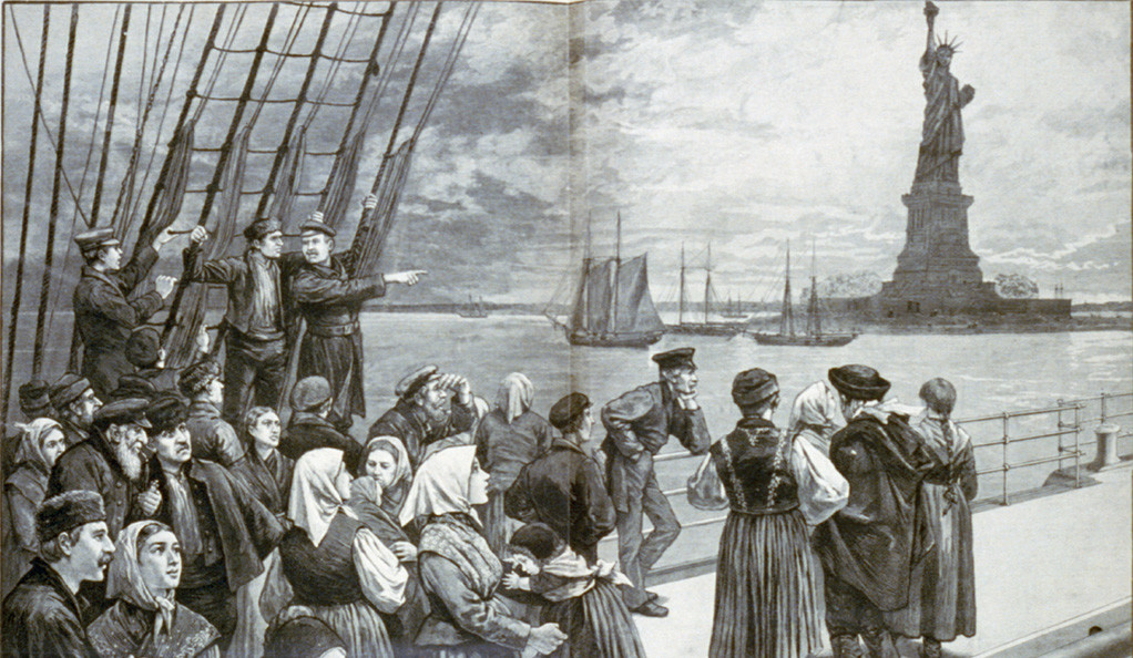 An 1887 engraving shows newly arrived immigrants gathered on an ocean steamer as it passes the Statue of Liberty.
