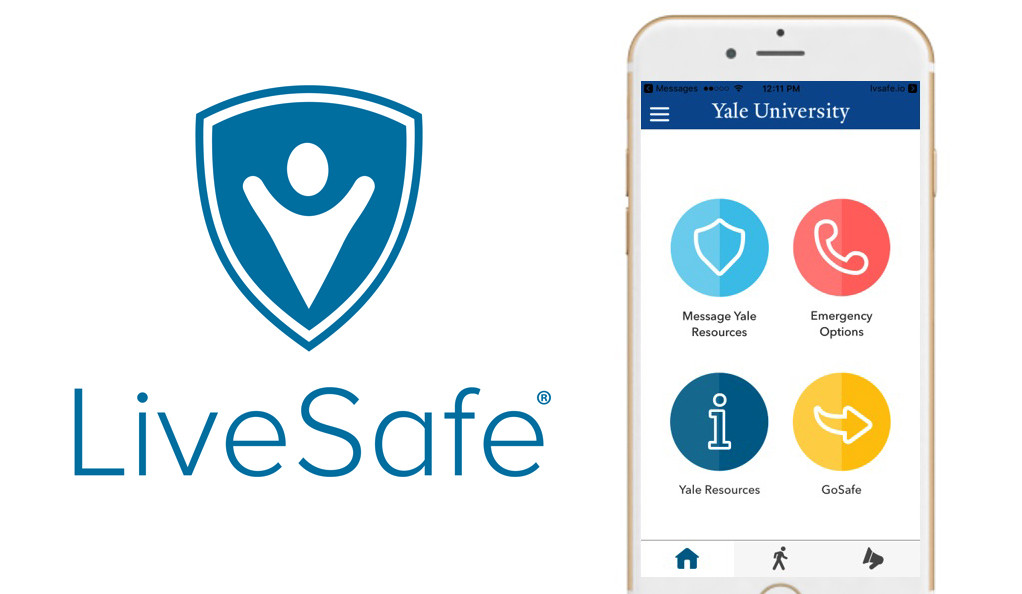 The LiveSafe logo and a mobile phone showing Yale resources.