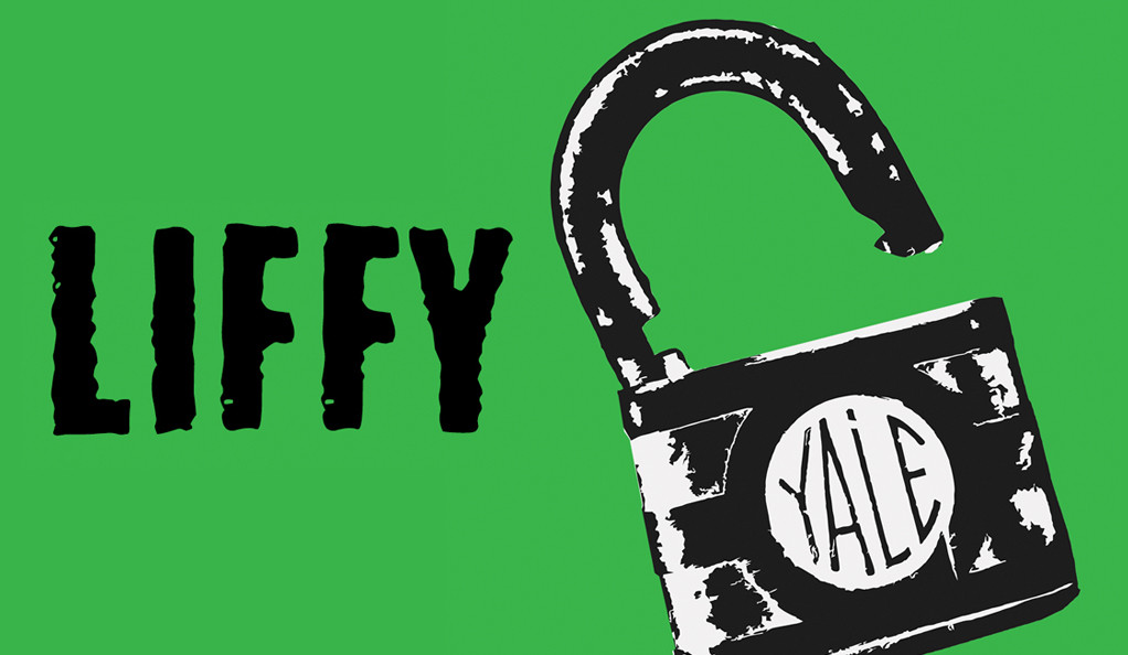 """Poster for LIFFY featuring an open padlock labeled """"Yale"""""""