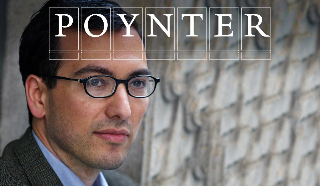 Journalist Eric Lipton with the Poynter Fellowship logo.