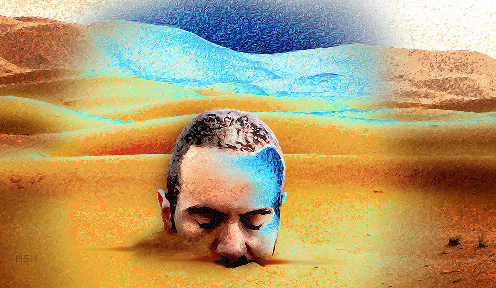 An abstract, hallucinatory illustration of a man buried up to his nose in sand.