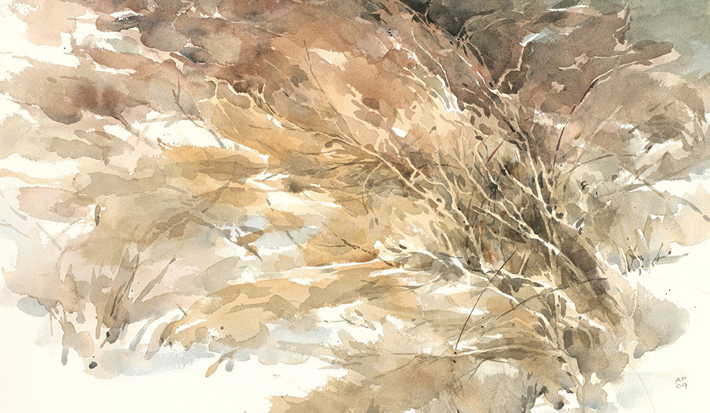 "Detail from the watercolor ""Winter Flames"" (2009) by Alexander Purves."