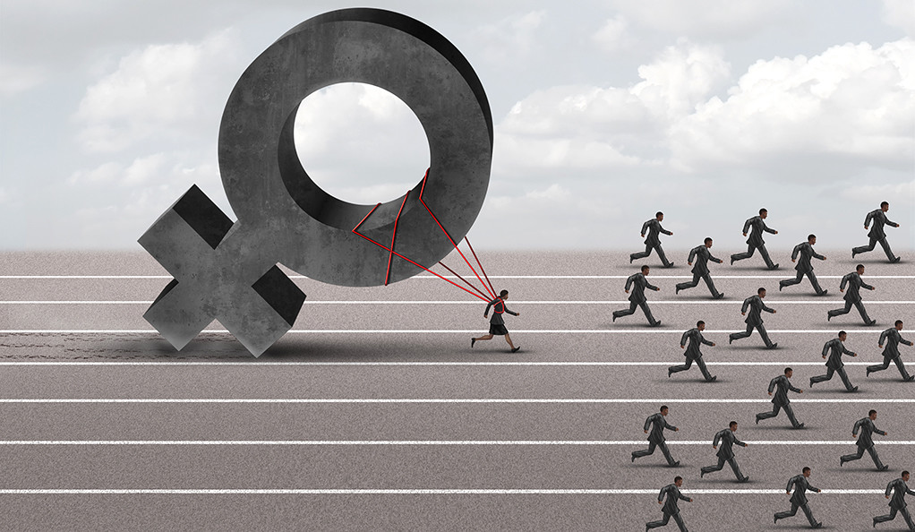 A graphic representation of a female figure tied to a massive Venus symbol to suggest the handicap that women face in business.