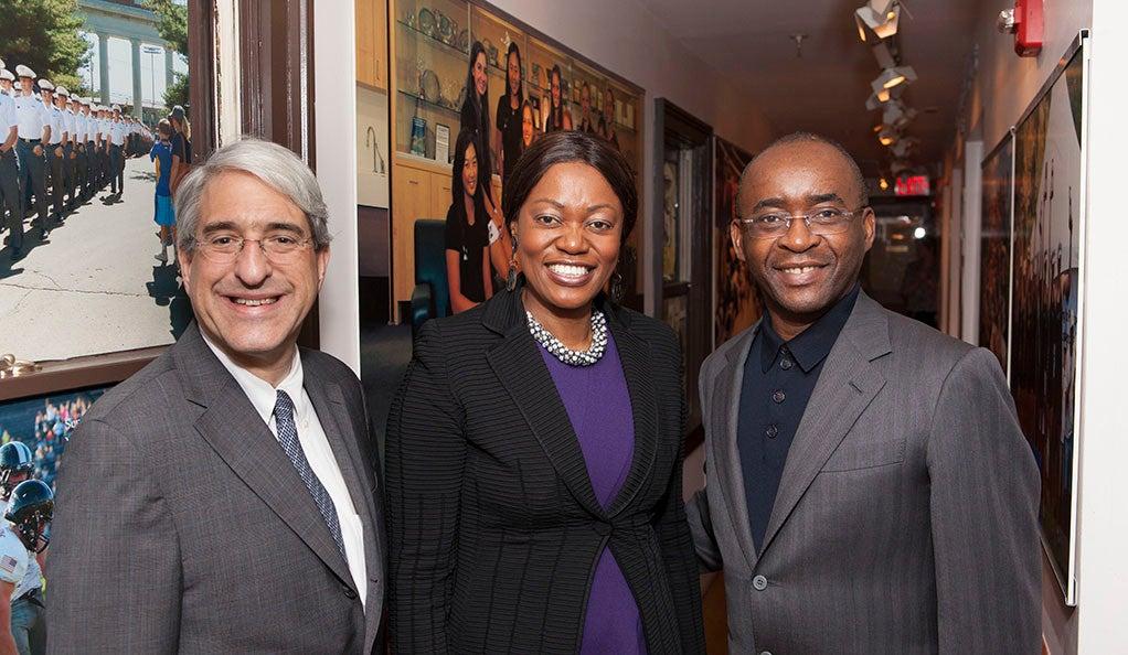 Yale President Peter Salovey with Strive Masiyiwa and Tsitsi Masiyiwa, co-founders of the Higherlife Foundation.