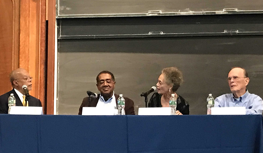 Henry Louis Gates, Bobby Seale, Kathleen Cleaver, and Sam Chauncey at a Yale May Day panel.