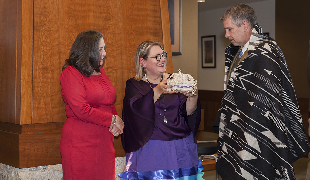 A ceremony marking the transfer of Mohegan artifacts from Yale to the tribe, with Mohegan Chief Many Hearts Lynn Malerba