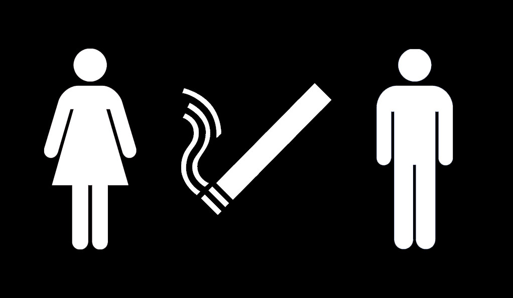 Male and female icon on either side of a smoking cigarette icon.