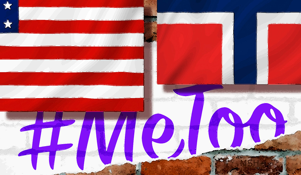 American and Norwegian flags with #MeToo hashtag