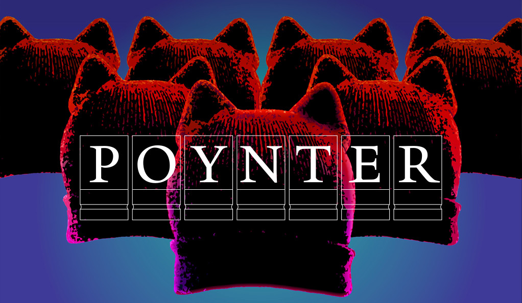 Pink pussy hats arranged in a power huddle with Poynter logo