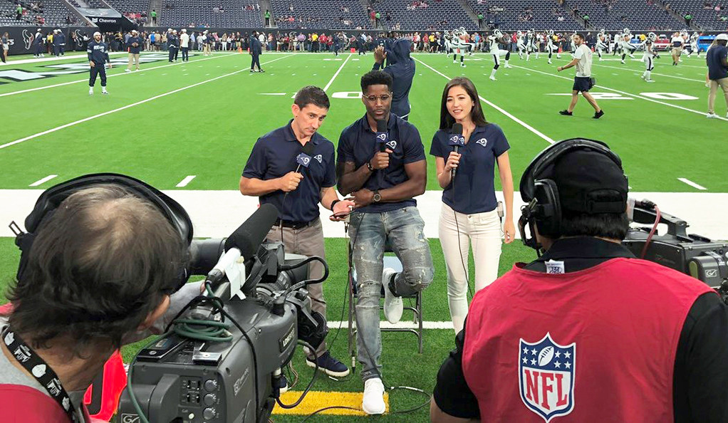 Mina Kimes with Andrew Siciliano and Nate Burleson