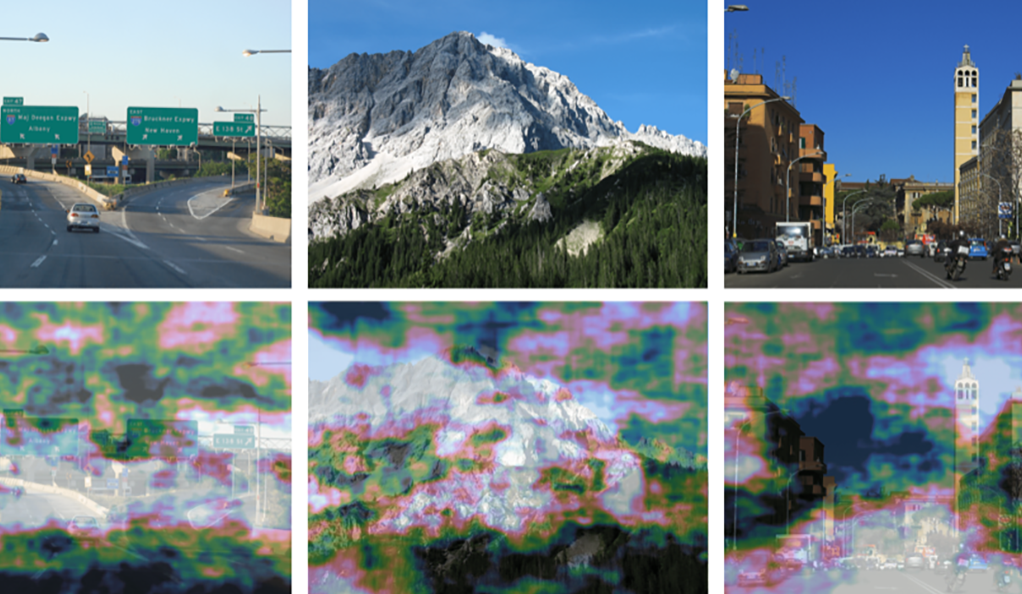A grid showing different natural scenes along with human eye movements predicted by brain activity by Yale scientists.