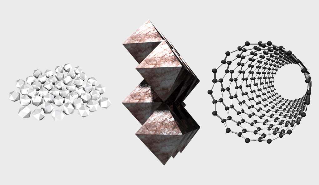 Examples of nanomaterials.