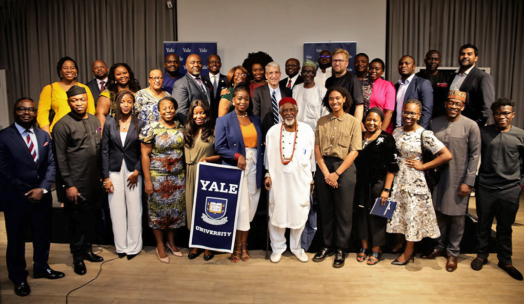 President Salovey during his trip to Nigeria, pictured with members of the Yale Club of Nigeria.