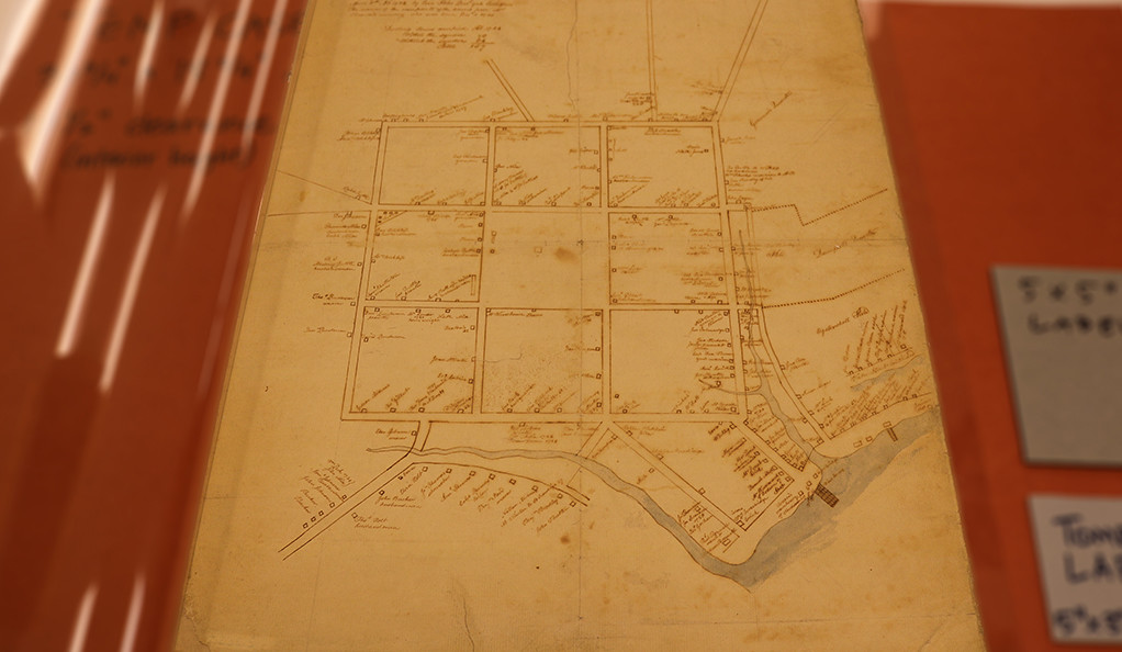 A manuscript map copied by Ezra Stiles in 1782 from a map first made by Joseph Brown in 1724
