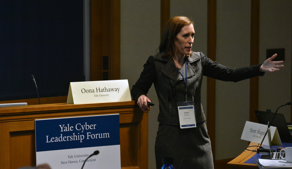 Oona Hathaway speaking at the Yale Cyber Leadership Forum