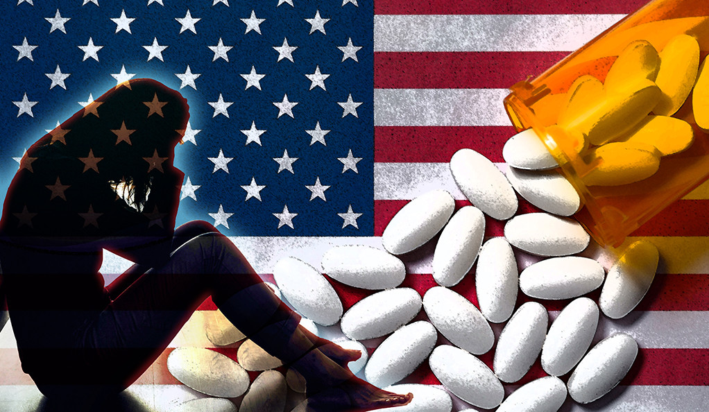A collage with a trouble woman, an overturned bottle of pills, and the American flag.