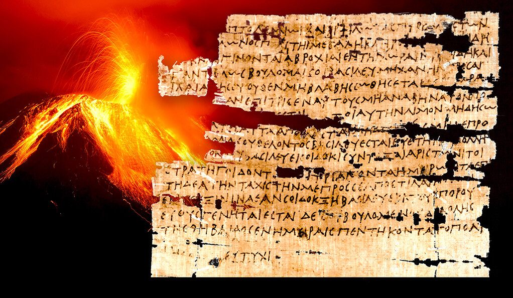 A graphic of papyrus with an exploding volcano in the background.