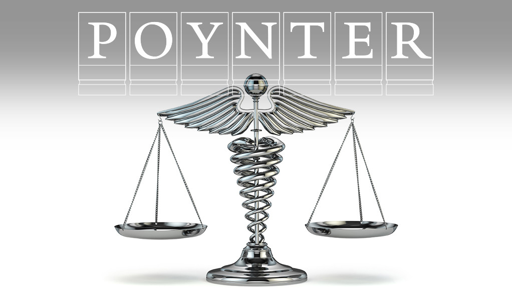 The caduceus symbol combined with the scales of justice, and the Poynter Fellowship logo.
