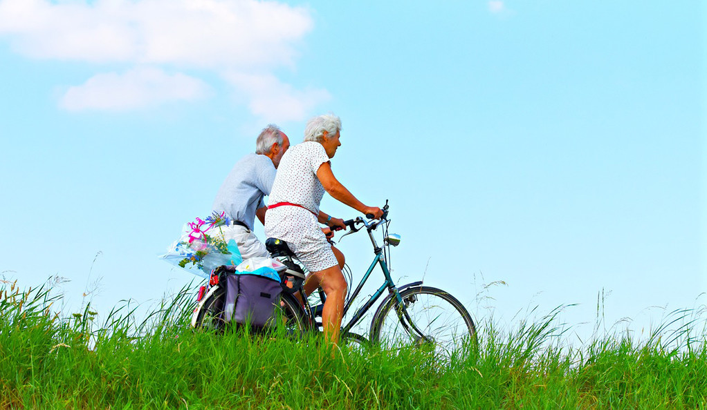An elderly man and woman riding bikes in a field.