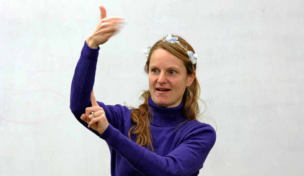 Jessica Tanner using American Sign Language in a Yale classroom.