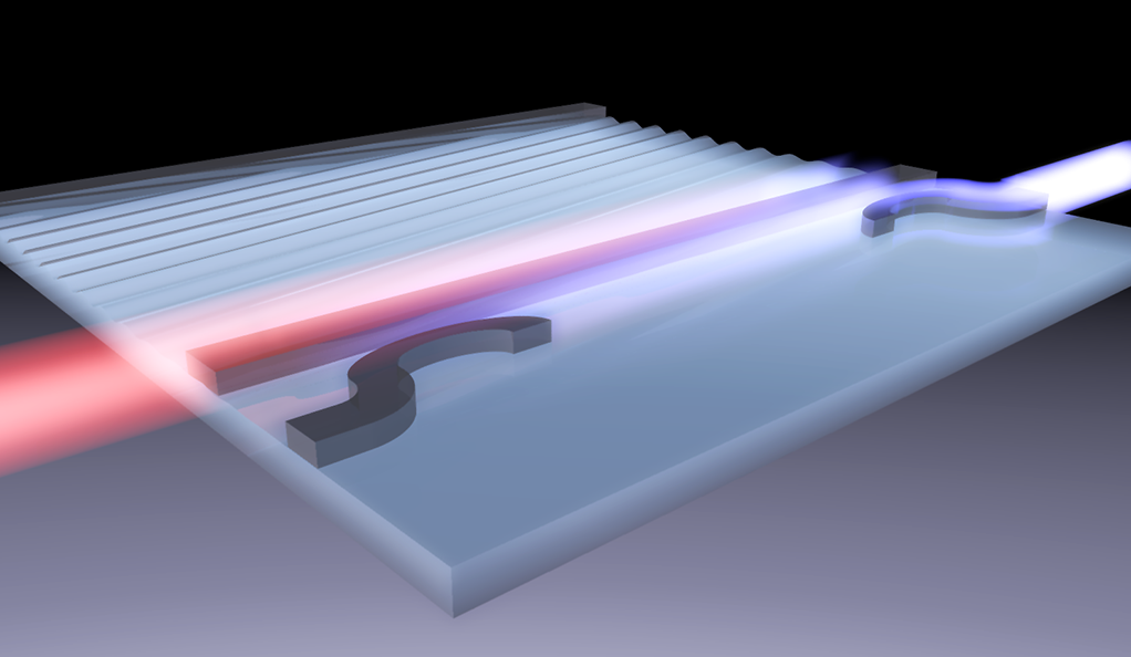 Sound waves are used to scatter light between two channels within a silicon photonic wire.
