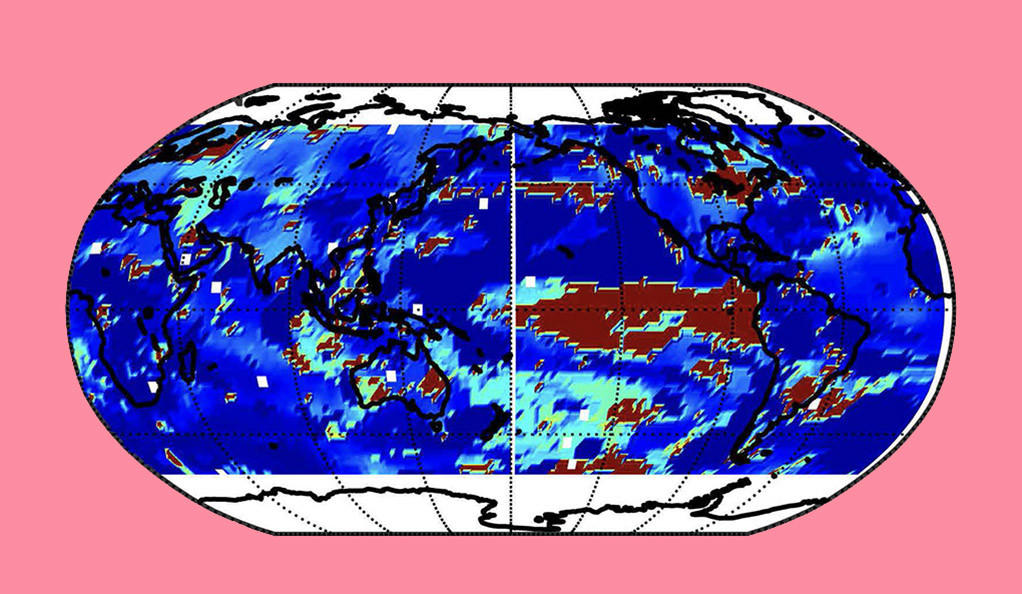 A global climate map with a pink background.
