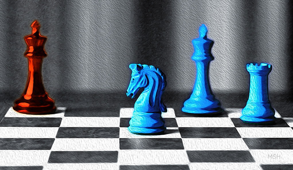 Red and blue pieces on a chess board.