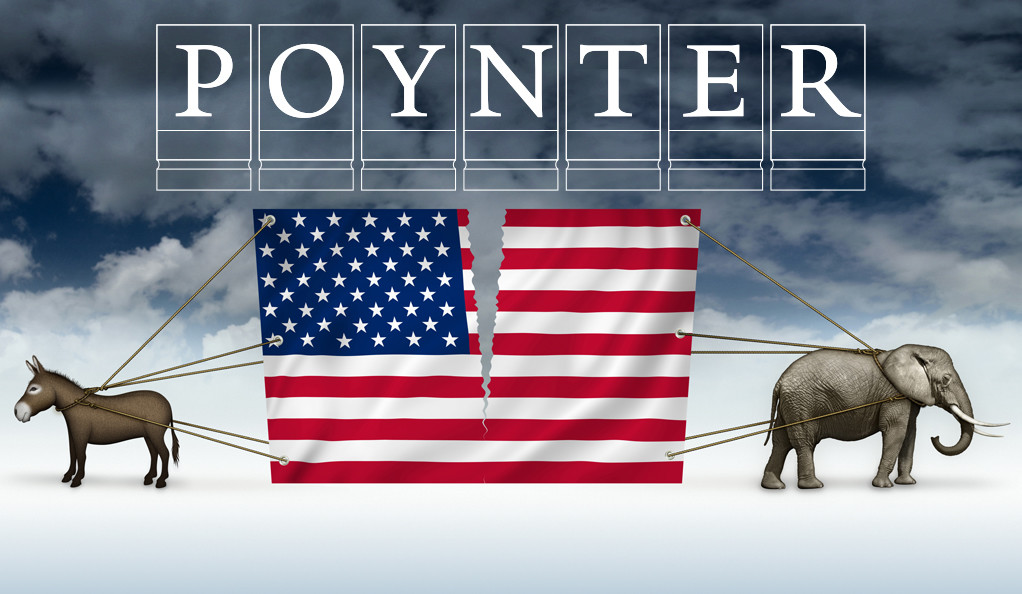 A donkey and an elephant pulling apart the American flag.
