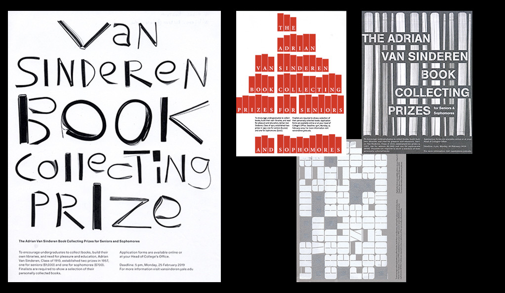 Winners of the 2018 poster competition for the Adrian Van Sinderen Book Collecting Prizes.