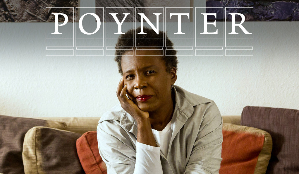 Claudia Rankine with Poynter Fellowship logo