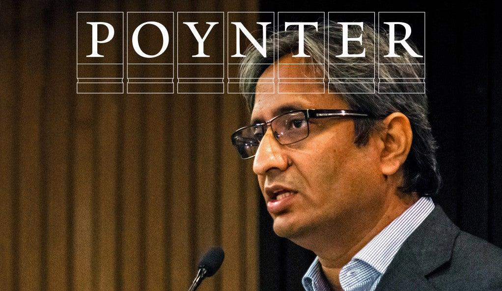 Ravish Kumar with Poynter logo
