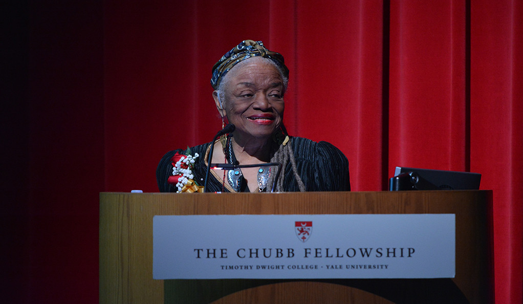 Faith Ringgold delivering a Chubb Lecture at Yale University