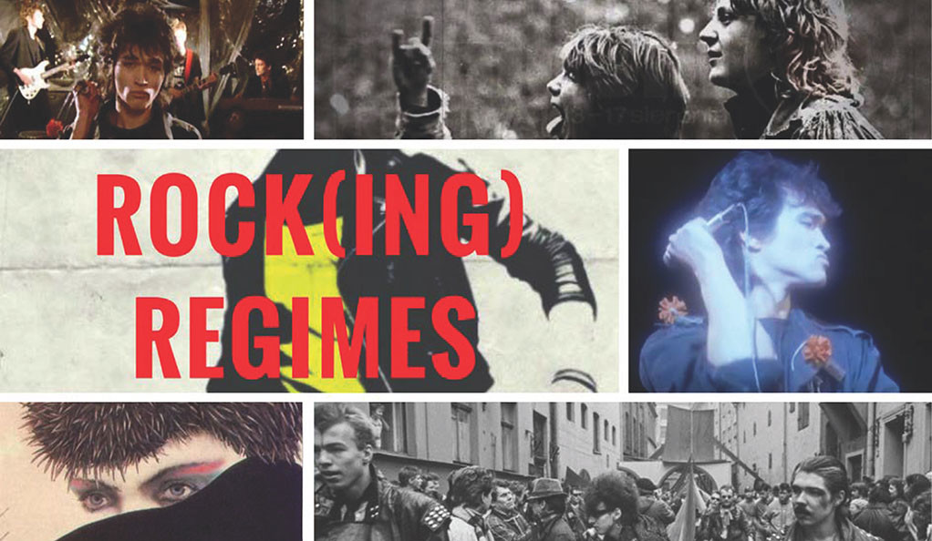 """Photo collage of Eastern European rock and roll films, with text """"Rocking Regimes"""""""