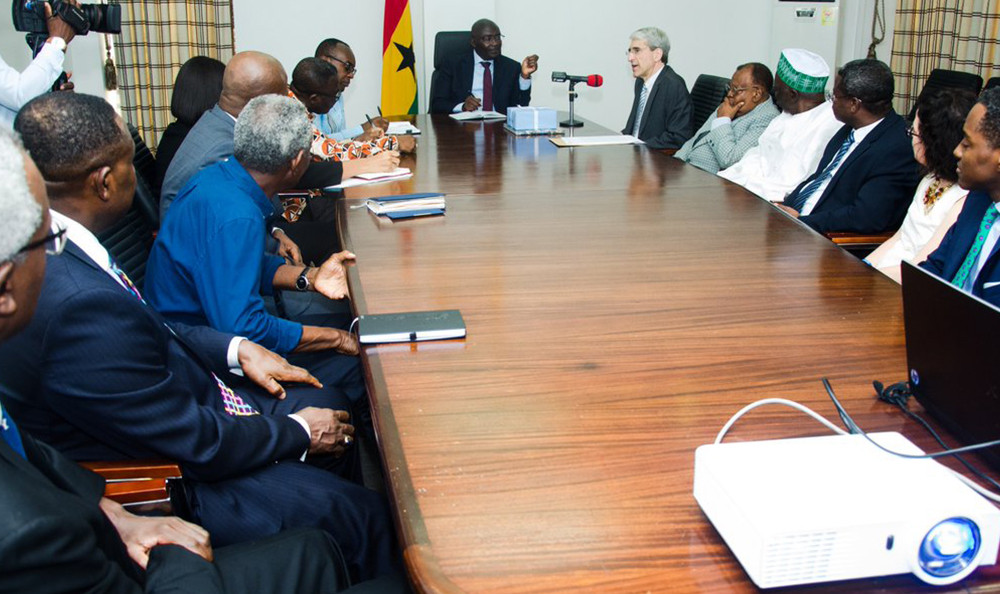 Yale President Peter Salovey meeting with Ghanan Vice President Mahamudu Bawumia