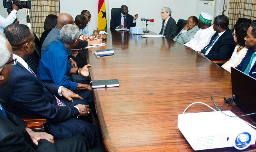 Yale President Peter Salovey meeting with Ghanan Vice President Mahamudu Bawumia