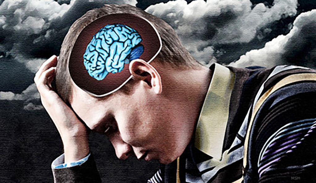 A man holding his head in his hand, with storm clouds in the background and an illustrated brain visible in his skull