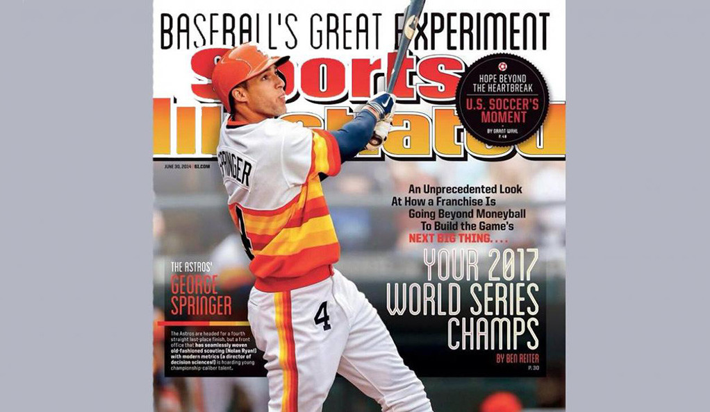 The June 30, 2014 issue of Sports Illustrated, featuring Ben Reiter's cover story predicting the Astros' 2017 World Series win.