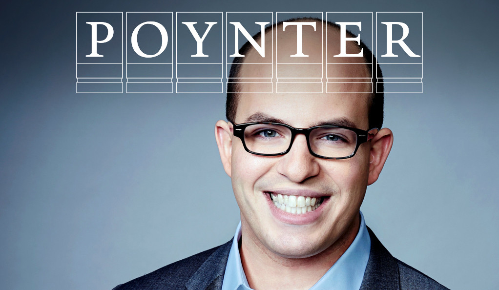 Brian Stelter with the Poynter Fellowship logo.