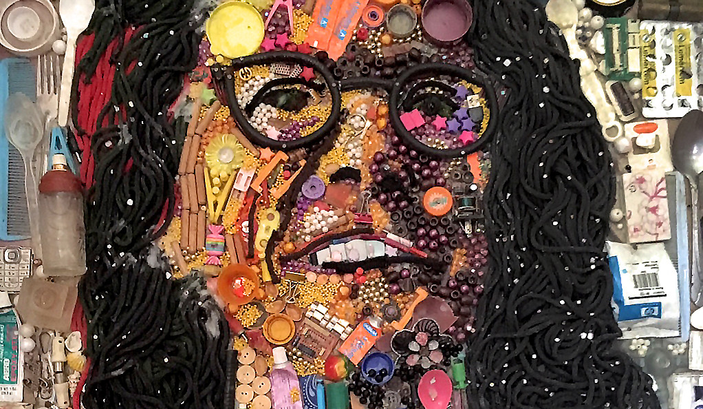 A portrait of Stephanie Newell — made out of repurposed trash — by Yusuf Durodola