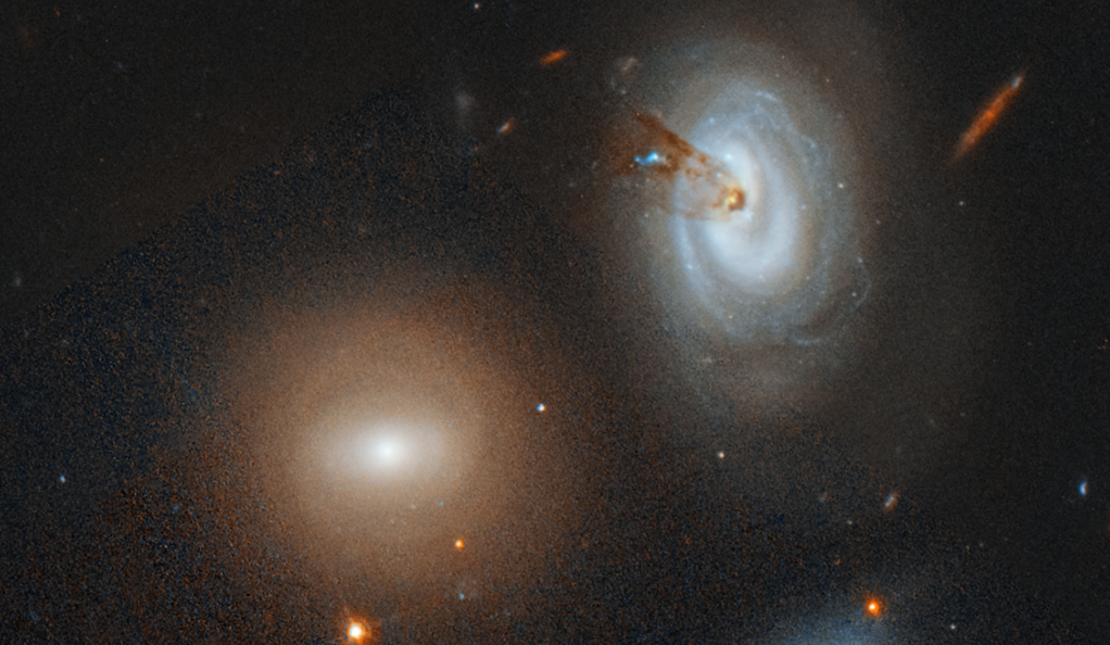 The spiral galaxy D100, on the far right of a Hubble Space Telescope image.